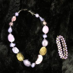 🔥5 for $25🔥 Purple/Gold Necklace and Bracelet